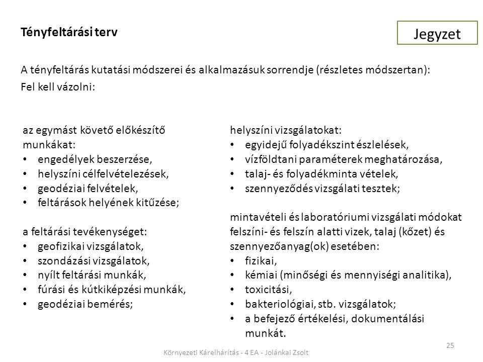 25 Környezeti Kárelhárítás - 4 EA - Jolánkai Zsolt Tényfeltárási terv A tényfeltárás kutatási módszerei és alkalmazásuk sorrendje (részletes módszertan): Fel kell vázolni: helyszíni vizsgálatokat: egyidejű folyadékszint észlelések, vízföldtani paraméterek meghatározása, talaj- és folyadékminta vételek, szennyeződés vizsgálati tesztek; mintavételi és laboratóriumi vizsgálati módokat felszíni- és felszín alatti vizek, talaj (kőzet) és szennyezőanyag(ok) esetében: fizikai, kémiai (minőségi és mennyiségi analitika), toxicitási, bakteriológiai, stb.