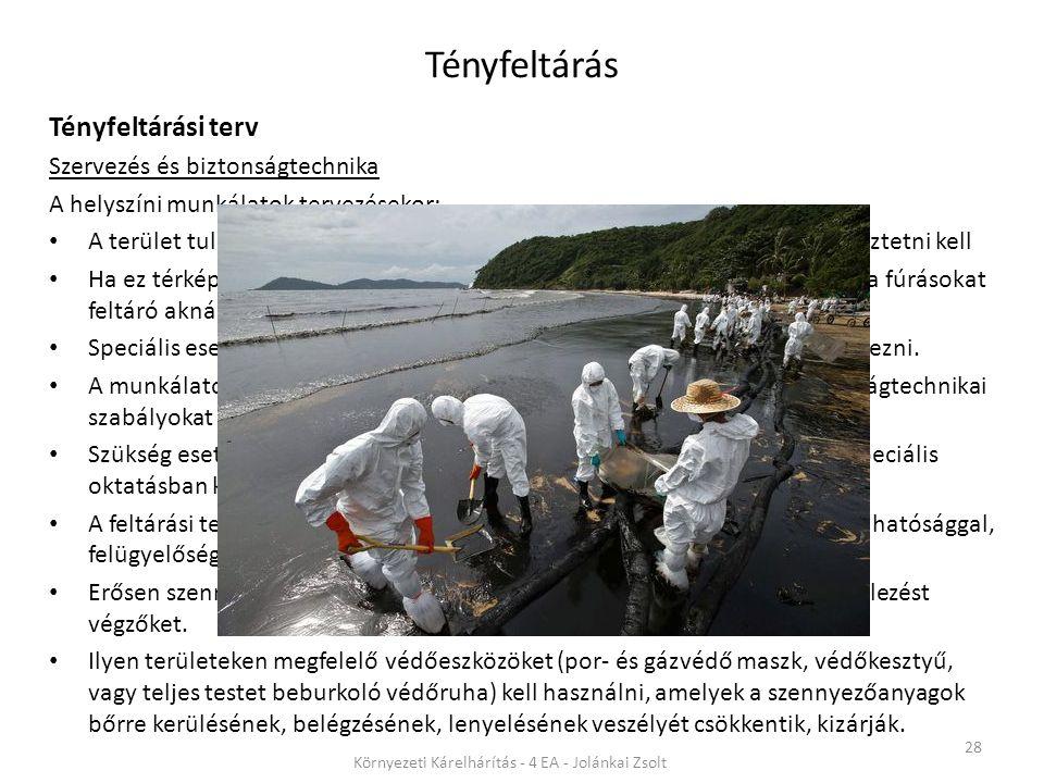 Tényfeltárás 28 Környezeti Kárelhárítás - 4 EA - Jolánkai Zsolt Tényfeltárási terv Szervezés és biztonságtechnika A helyszíni munkálatok tervezésekor: