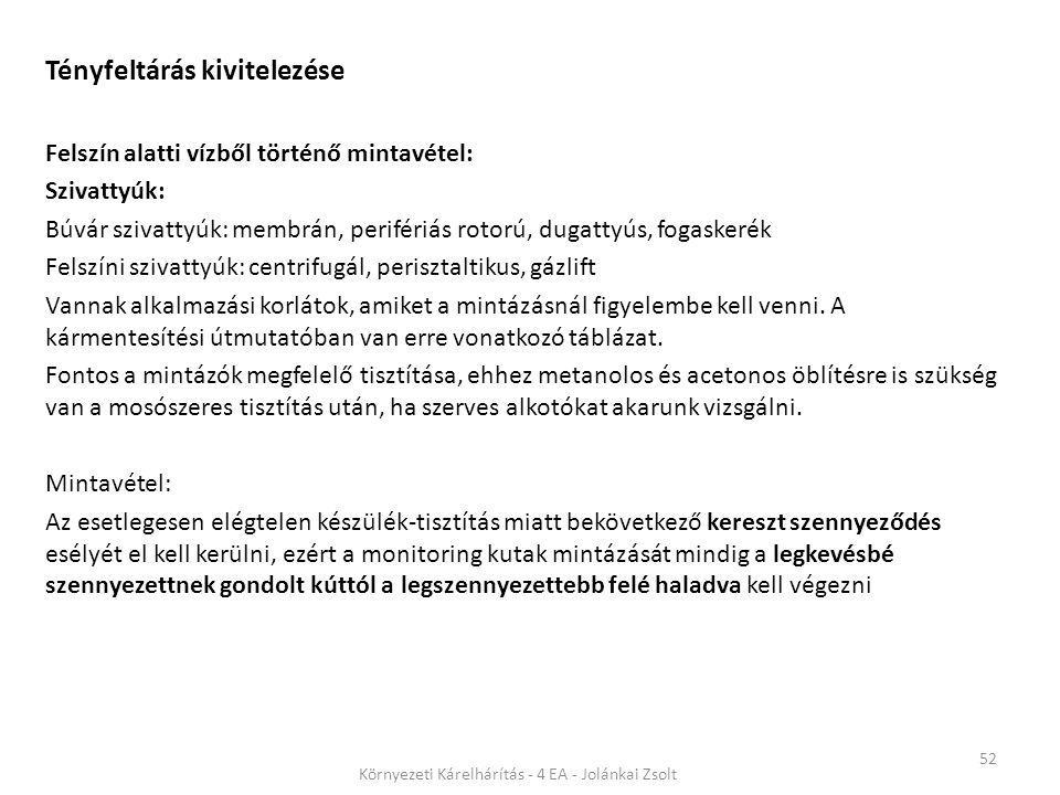 52 Környezeti Kárelhárítás - 4 EA - Jolánkai Zsolt Tényfeltárás kivitelezése Felszín alatti vízből történő mintavétel: Szivattyúk: Búvár szivattyúk: m