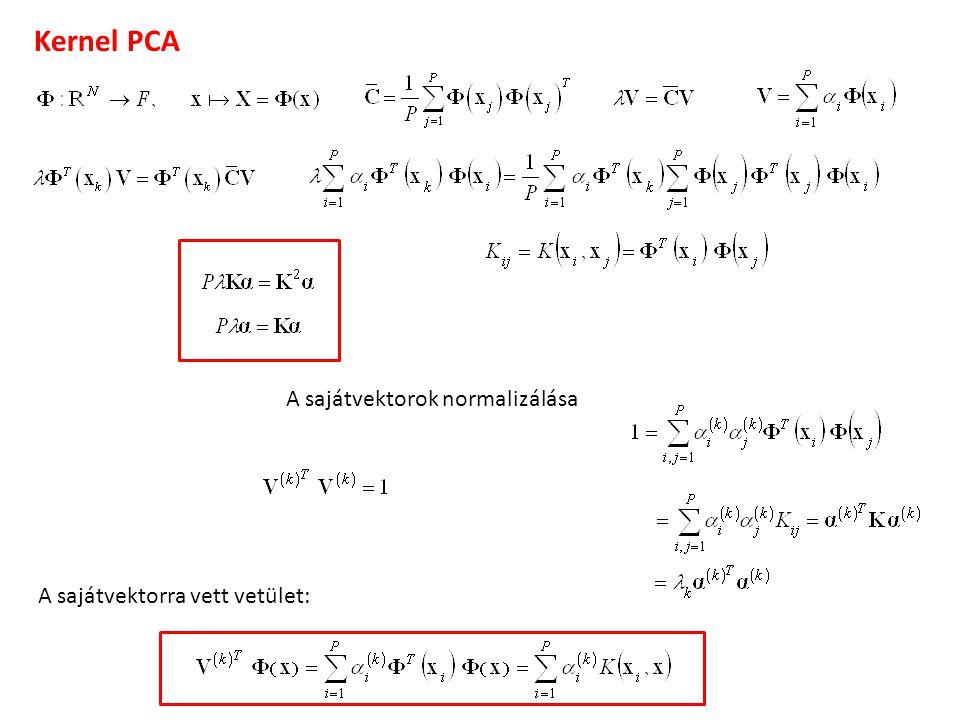 Kernel PCA A sajátvektorok normalizálása A sajátvektorra vett vetület:
