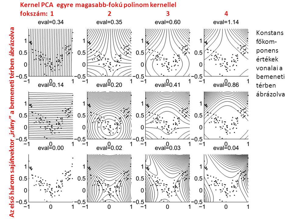 """Kernel PCA egyre magasabb-fokú polinom kernellel fokszám: 1234 Az első három sajátvektor """"irány a bemeneti térben ábrázolva Konstans főkom- ponens értékek vonalai a bemeneti térben ábrázolva"""