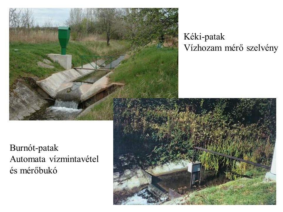 Kéki-patak Vízhozam mérő szelvény Burnót-patak Automata vízmintavétel és mérőbukó