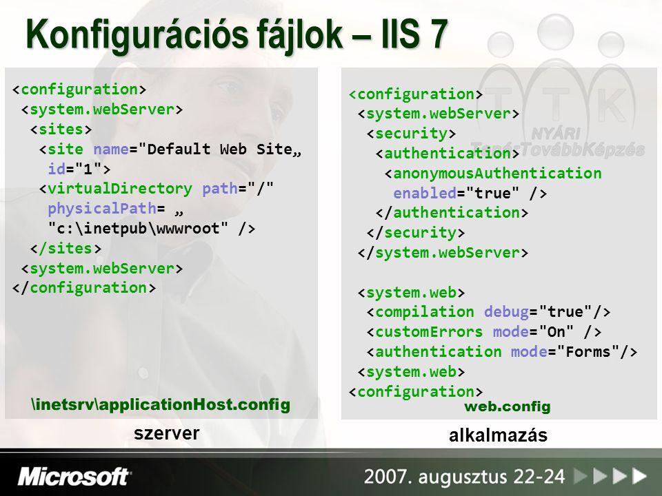 """<anonymousAuthentication enabled= true /> <site name= Default Web Site"""" id= 1 > <virtualDirectory path= / physicalPath= """" c:\inetpub\wwwroot /> Konfigurációs fájlok – IIS 7 szerver web.config alkalmazás"""