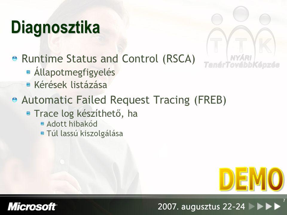 Diagnosztika Runtime Status and Control (RSCA) Állapotmegfigyelés Kérések listázása Automatic Failed Request Tracing (FREB) Trace log készíthető, ha Adott hibakód Túl lassú kiszolgálása 7