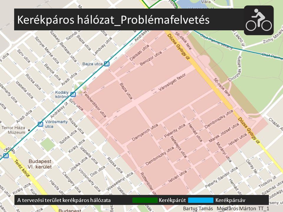 Kerékpáros hálózat_Problémafelvetés A tervezési terület kerékpáros hálózataKerékpárútKerékpársáv Bartus Tamás Mészáros Márton TT_1