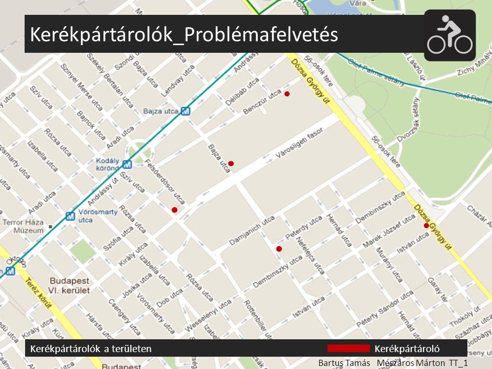 Kerékpártárolók_Helyszínképek Bartus Tamás Mészáros Márton TT_1 A területen őrzött és őrizetlen kerékpártárolók egyaránt megtalálhatóak, de ezek száma csekély, és tárolókapacitásuk nem elégíti ki a helyi igényeket.
