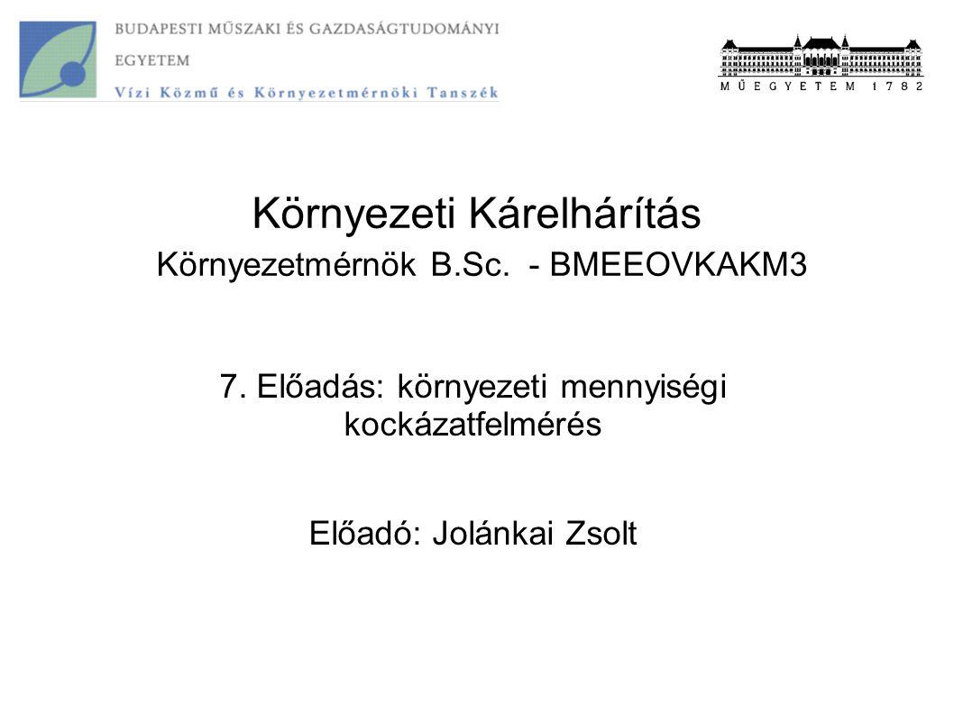 Környezeti Kárelhárítás Környezetmérnök B.Sc. - BMEEOVKAKM3 7. Előadás: környezeti mennyiségi kockázatfelmérés Előadó: Jolánkai Zsolt