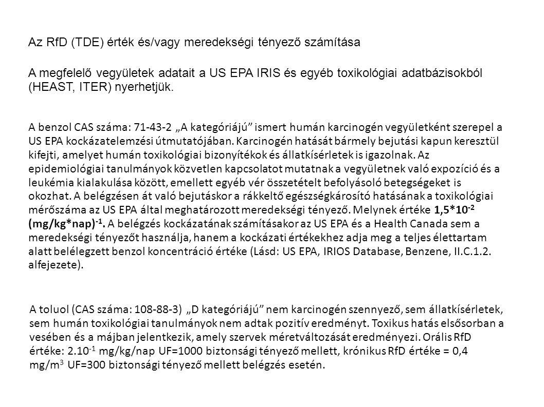 Az RfD (TDE) érték és/vagy meredekségi tényező számítása A megfelelő vegyületek adatait a US EPA IRIS és egyéb toxikológiai adatbázisokból (HEAST, ITE