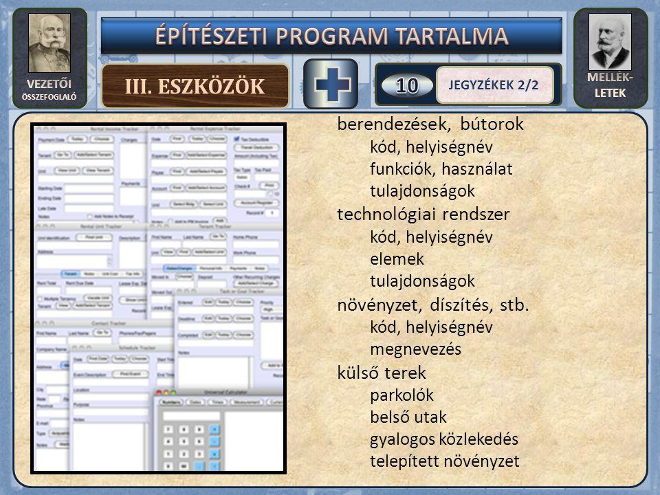VEZETŐI ÖSSZEFOGLALÓ MELLÉK- LETEK III. ESZKÖZÖK JEGYZÉKEK 2/2 berendezések, bútorok kód, helyiségnév funkciók, használat tulajdonságok technológiai r