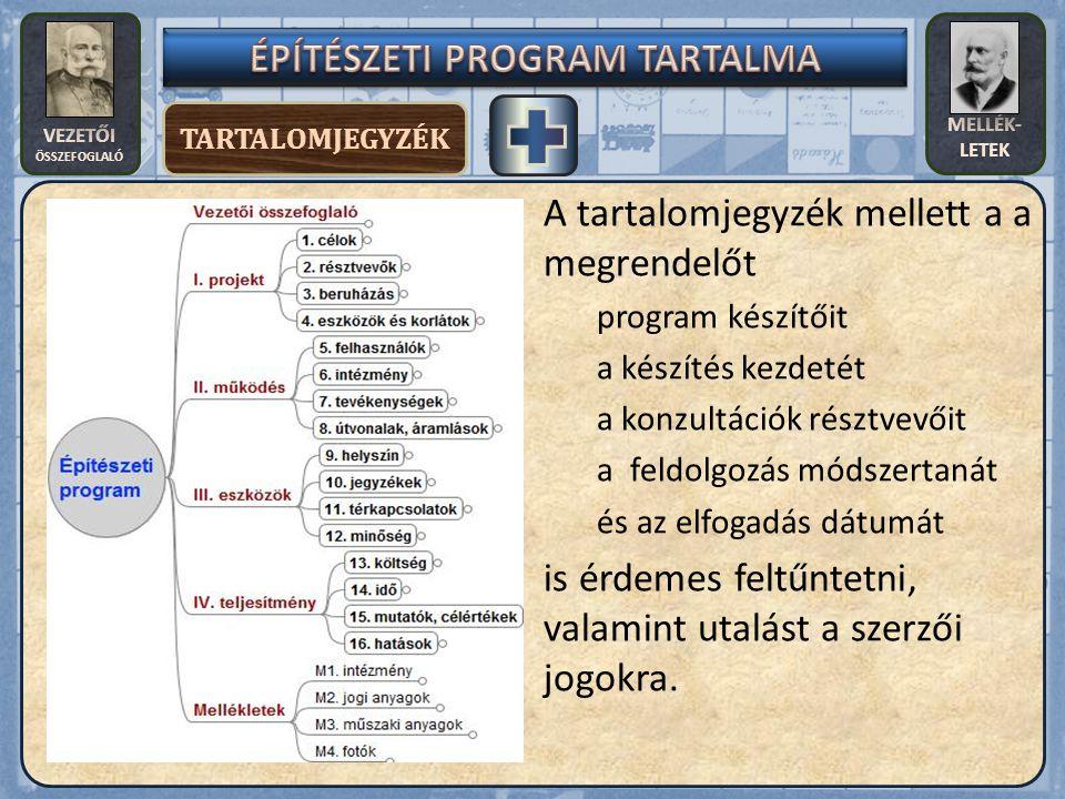 VEZETŐI ÖSSZEFOGLALÓ MELLÉK- LETEK MELLÉKLETEK 2.M3.