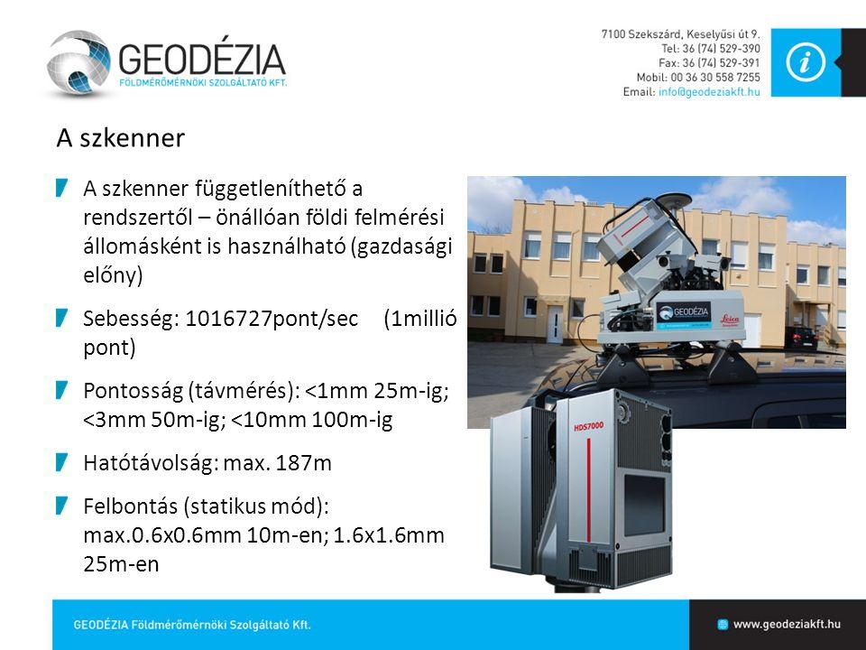 A szkenner A szkenner függetleníthető a rendszertől – önállóan földi felmérési állomásként is használható (gazdasági előny) Sebesség: 1016727pont/sec
