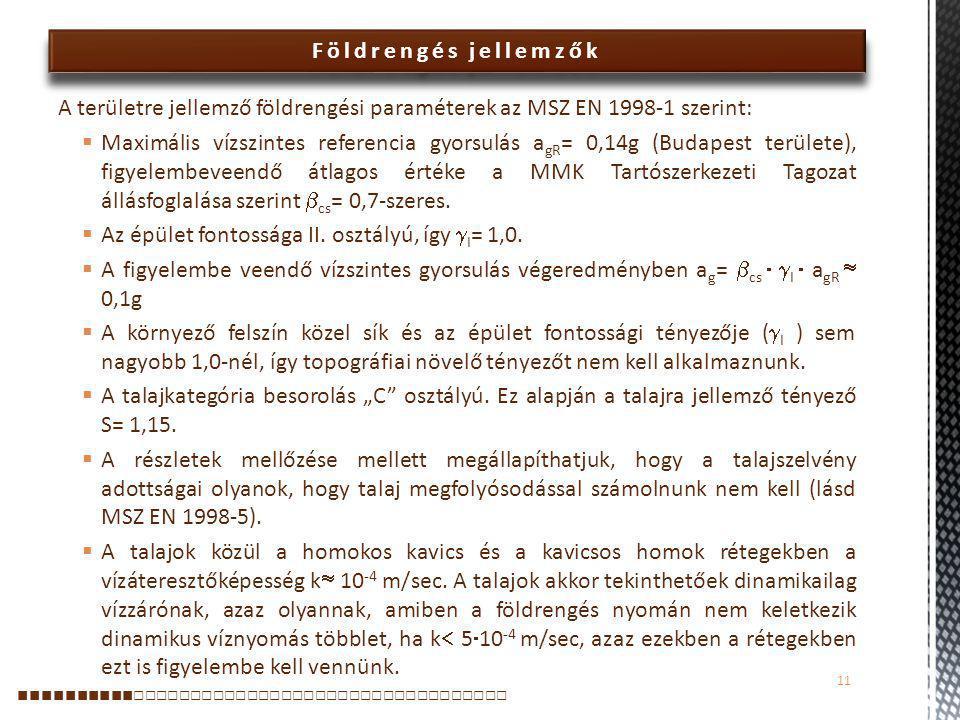 Földrengés jellemzők A területre jellemző földrengési paraméterek az MSZ EN 1998-1 szerint:  Maximális vízszintes referencia gyorsulás a gR = 0,14g (Budapest területe), figyelembeveendő átlagos értéke a MMK Tartószerkezeti Tagozat állásfoglalása szerint  cs = 0,7-szeres.