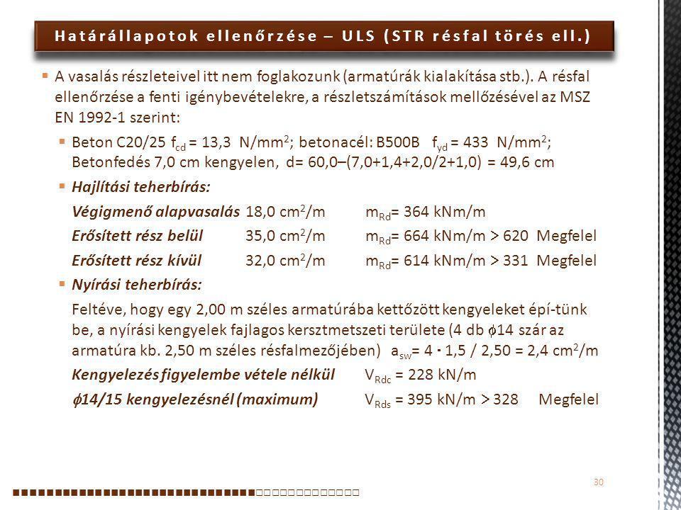 Határállapotok ellenőrzése – ULS (STR résfal törés ell.)  A vasalás részleteivel itt nem foglakozunk (armatúrák kialakítása stb.). A résfal ellenőrzé