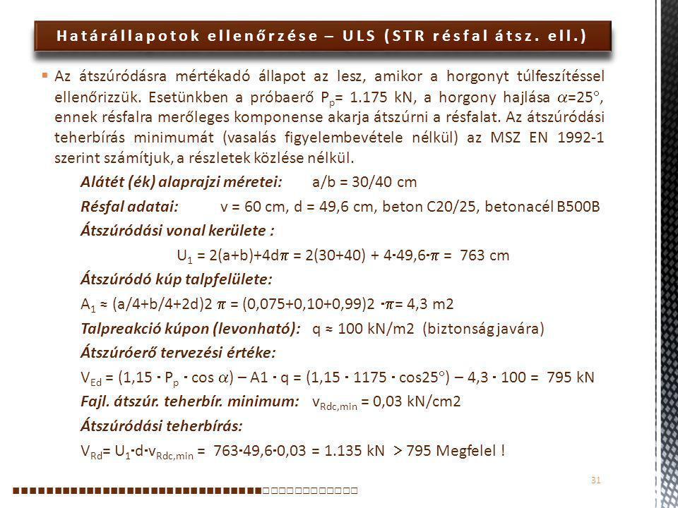 Határállapotok ellenőrzése – ULS (STR résfal átsz. ell.)  Az átszúródásra mértékadó állapot az lesz, amikor a horgonyt túlfeszítéssel ellenőrizzük. E