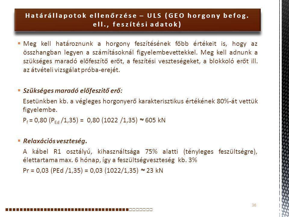 Határállapotok ellenőrzése – ULS (GEO horgony befog. ell., feszítési adatok)  Meg kell határoznunk a horgony feszítésének főbb értékeit is, hogy az ö