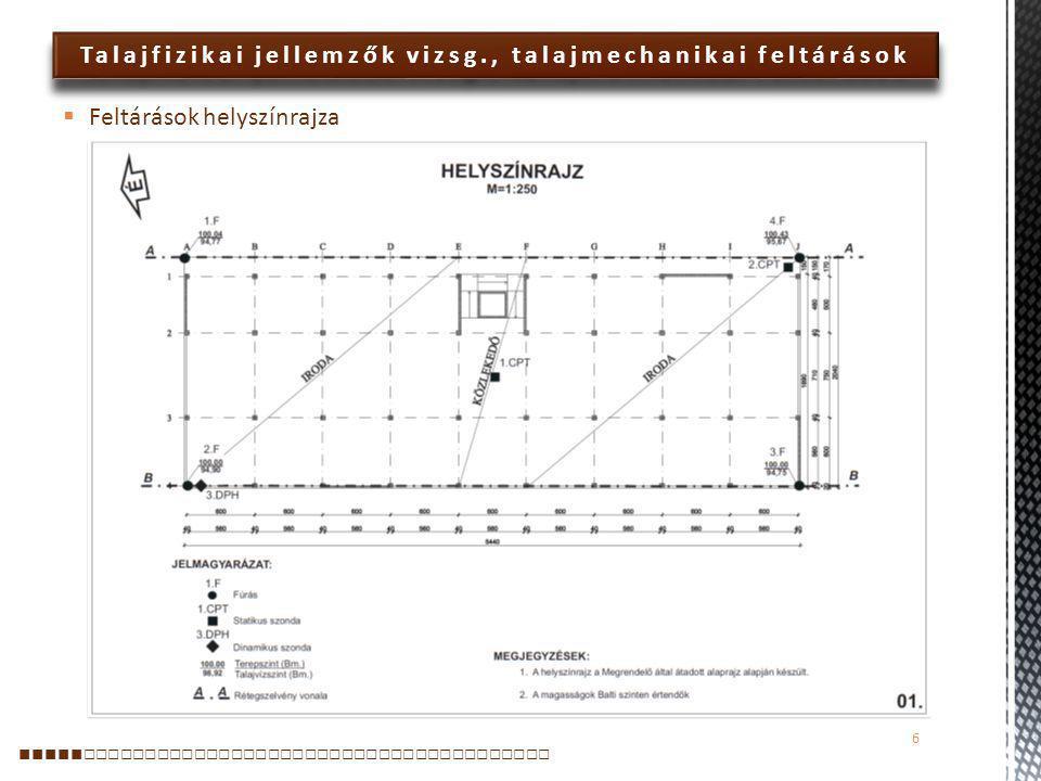 Talajfizikai jellemzők vizsg., talajmechanikai feltárások  3.F.