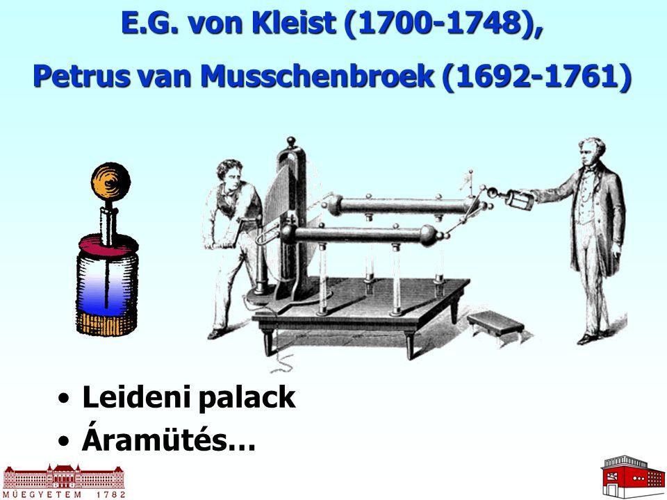 E.G. von Kleist (1700-1748), Petrus van Musschenbroek (1692-1761) Leideni palackLeideni palack Áramütés…Áramütés…