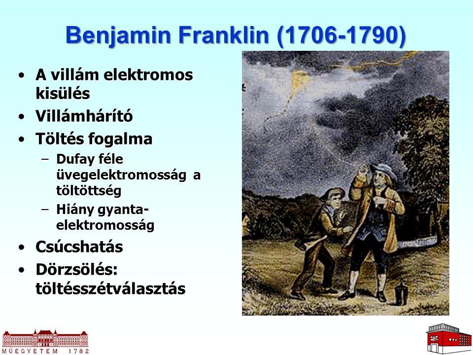 Benjamin Franklin (1706-1790) A villám elektromos kisülésA villám elektromos kisülés VillámhárítóVillámhárító Töltés fogalmaTöltés fogalma –Dufay féle