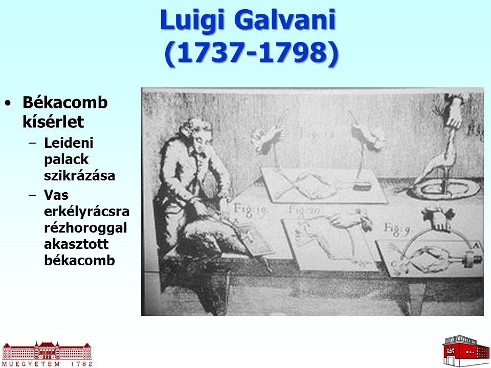 Luigi Galvani (1737-1798) Békacomb kísérletBékacomb kísérlet –Leideni palack szikrázása –Vas erkélyrácsra rézhoroggal akasztott békacomb