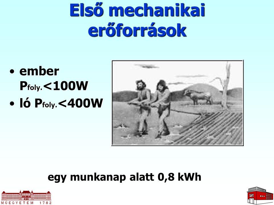 Első mechanikai erőforrások ember P foly. <100Wember P foly. <100W ló P foly. <400Wló P foly. <400W egy munkanap alatt 0,8 kWh