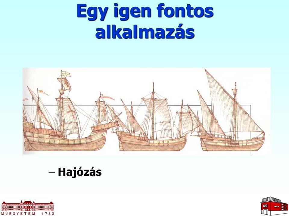 –Hajózás Egy igen fontos alkalmazás