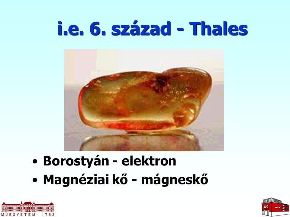 i.e. 6. század - Thales Borostyán - elektronBorostyán - elektron Magnéziai kő - mágneskőMagnéziai kő - mágneskő