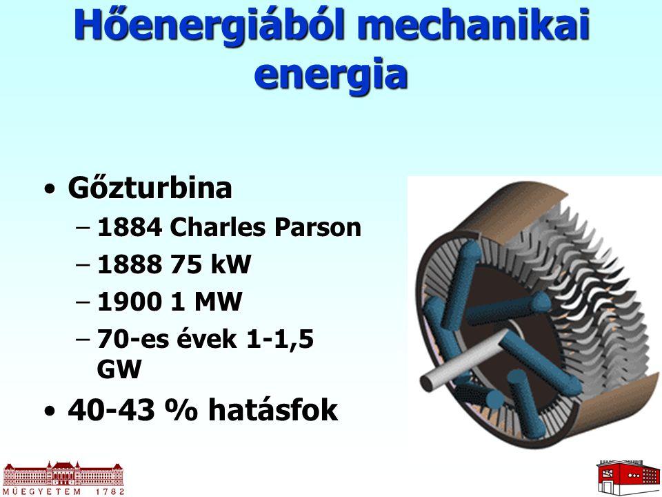 GőzturbinaGőzturbina –1884 Charles Parson –1888 75 kW –1900 1 MW –70-es évek 1-1,5 GW 40-43 % hatásfok40-43 % hatásfok Hőenergiából mechanikai energia