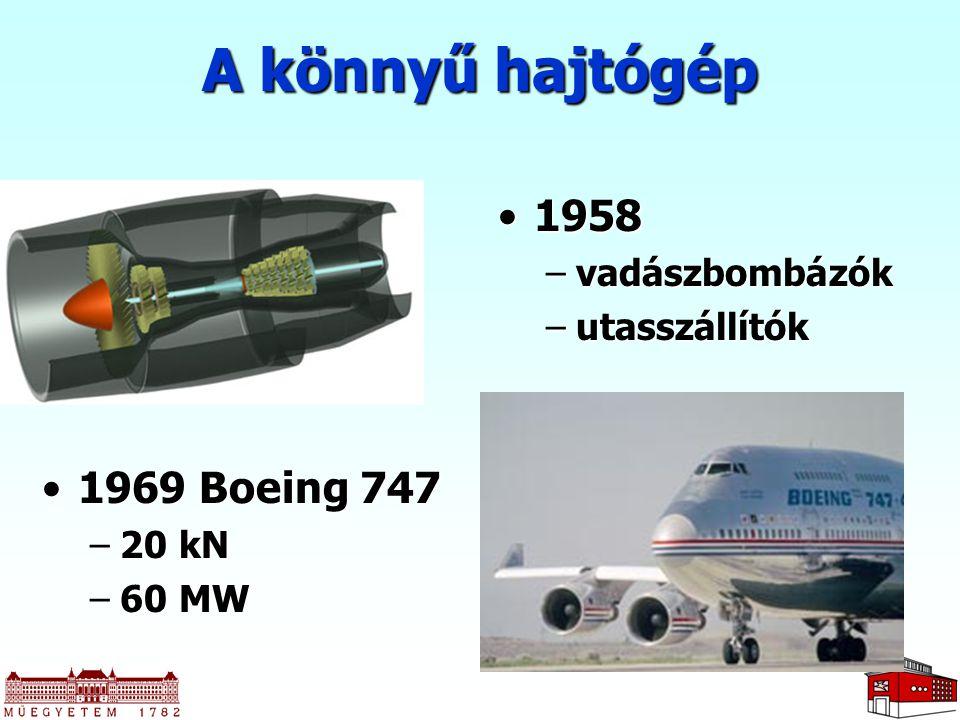 A könnyű hajtógép 19581958 –vadászbombázók –utasszállítók 1969 Boeing 7471969 Boeing 747 –20 kN –60 MW