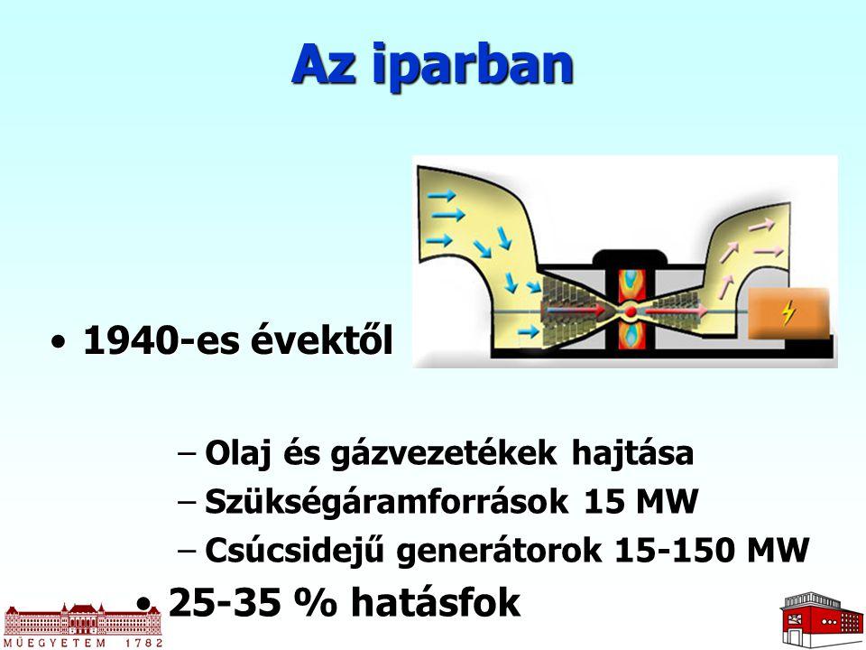 1940-es évektől1940-es évektől Az iparban –Olaj és gázvezetékek hajtása –Szükségáramforrások 15 MW –Csúcsidejű generátorok 15-150 MW 25-35 % hatásfok2