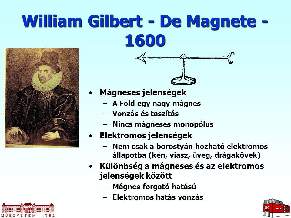William Gilbert - De Magnete - 1600 Mágneses jelenségekMágneses jelenségek –A Föld egy nagy mágnes –Vonzás és taszítás –Nincs mágneses monopólus Elekt