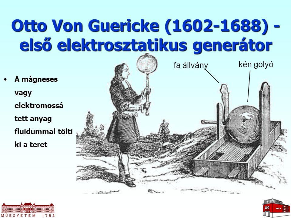 Otto Von Guericke (1602-1688) - első elektrosztatikus generátor kén golyó fa állvány A mágneses vagy elektromossá tett anyag fluidummal tölti ki a ter