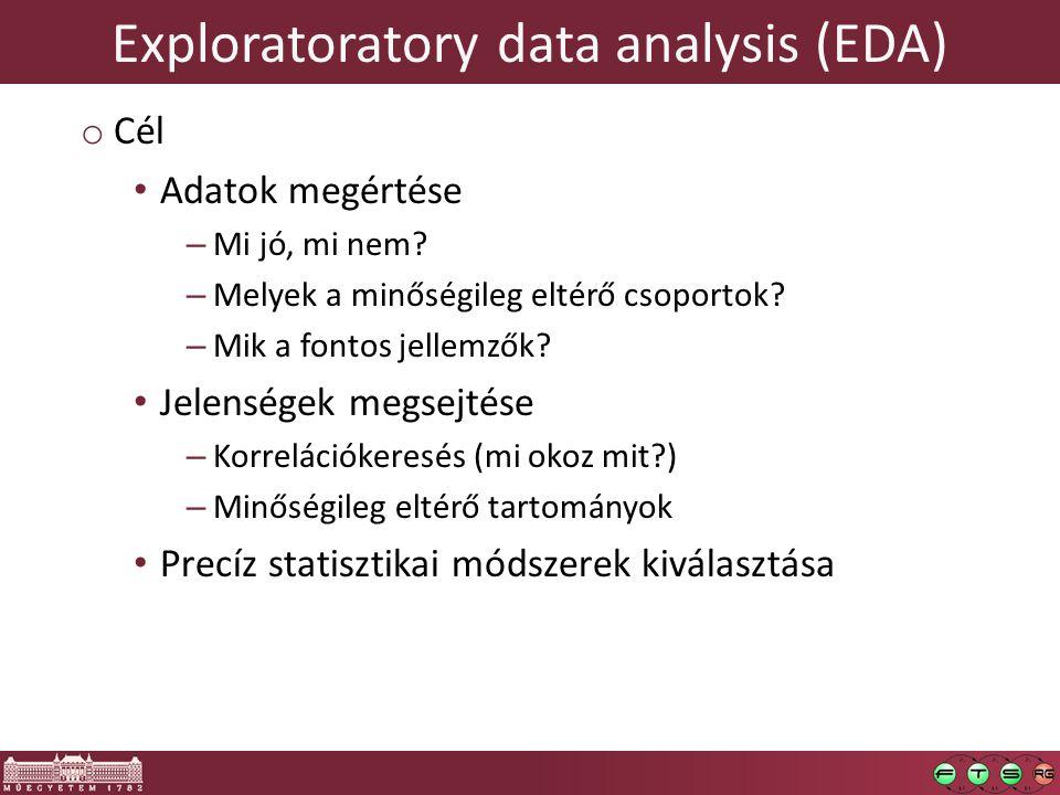 Exploratoratory data analysis (EDA) o Cél Adatok megértése – Mi jó, mi nem? – Melyek a minőségileg eltérő csoportok? – Mik a fontos jellemzők? Jelensé