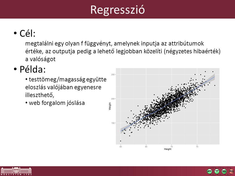 Regresszió Cél: megtalálni egy olyan f függvényt, amelynek inputja az attribútumok értéke, az outputja pedig a lehető legjobban közelíti (négyzetes hi