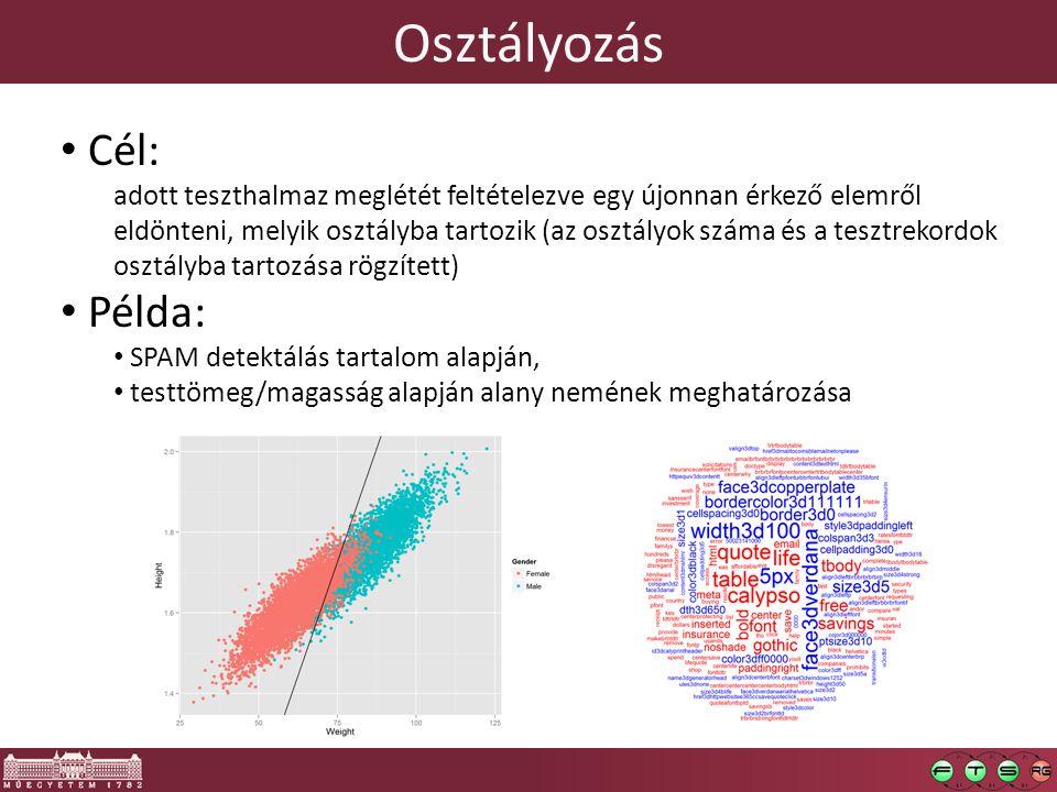 Osztályozás Cél: adott teszthalmaz meglétét feltételezve egy újonnan érkező elemről eldönteni, melyik osztályba tartozik (az osztályok száma és a tesz