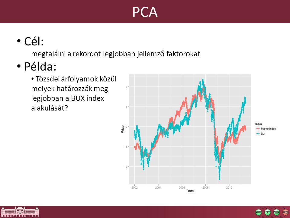 PCA Cél: megtalálni a rekordot legjobban jellemző faktorokat Példa: Tőzsdei árfolyamok közül melyek határozzák meg legjobban a BUX index alakulását?