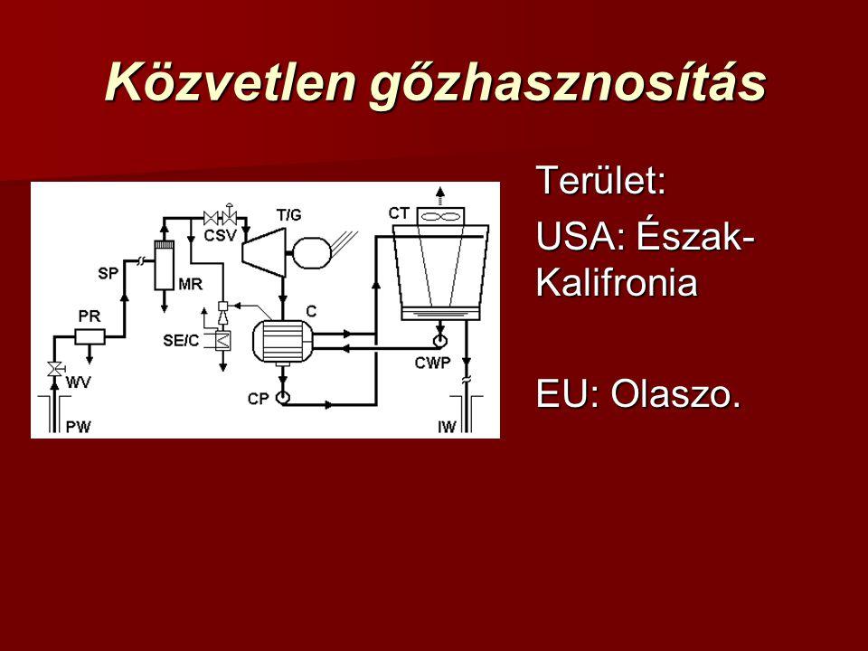 Közvetlen gőzhasznosítás Terület: USA: Észak- Kalifronia EU: Olaszo.