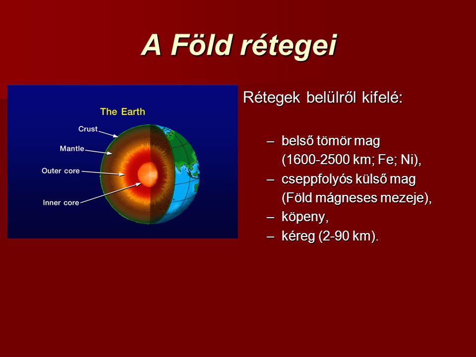 A Föld rétegei Rétegek belülről kifelé: –belső tömör mag (1600-2500 km; Fe; Ni), –cseppfolyós külső mag (Föld mágneses mezeje), –köpeny, –kéreg (2-90 km).