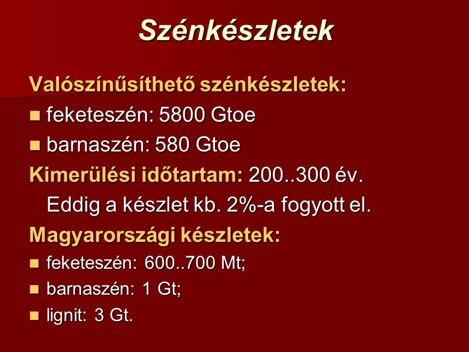 Szénkészletek Valószínűsíthető szénkészletek: feketeszén: 5800 Gtoe feketeszén: 5800 Gtoe barnaszén: 580 Gtoe barnaszén: 580 Gtoe Kimerülési időtartam: 200..300 év.