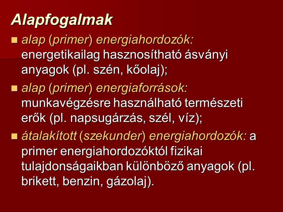 Alapfogalmak alap (primer) energiahordozók: energetikailag hasznosítható ásványi anyagok (pl.