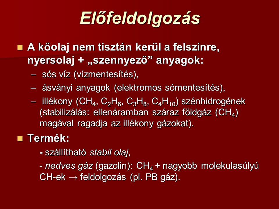 """Előfeldolgozás A kőolaj nem tisztán kerül a felszínre, nyersolaj + """"szennyező anyagok: A kőolaj nem tisztán kerül a felszínre, nyersolaj + """"szennyező anyagok: – sós víz (vízmentesítés), – ásványi anyagok (elektromos sómentesítés), – illékony (CH 4, C 2 H 6, C 3 H 8, C 4 H 10 ) szénhidrogének (stabilizálás: ellenáramban száraz földgáz (CH 4 ) magával ragadja az illékony gázokat)."""