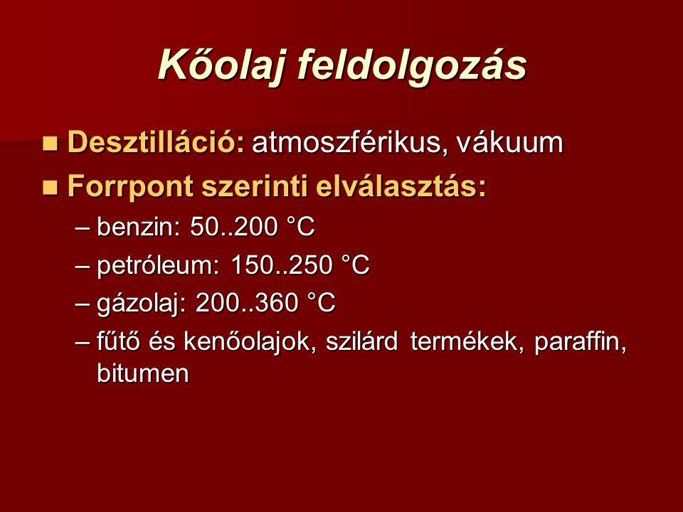 Kőolaj feldolgozás Desztilláció: atmoszférikus, vákuum Desztilláció: atmoszférikus, vákuum Forrpont szerinti elválasztás: Forrpont szerinti elválasztás: –benzin: 50..200 °C –petróleum: 150..250 °C –gázolaj: 200..360 °C –fűtő és kenőolajok, szilárd termékek, paraffin, bitumen