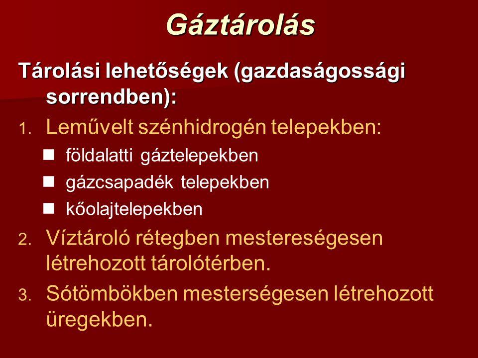 Gáztárolás Tárolási lehetőségek (gazdaságossági sorrendben): 1. 1. Leművelt szénhidrogén telepekben: földalatti gáztelepekben gázcsapadék telepekben k