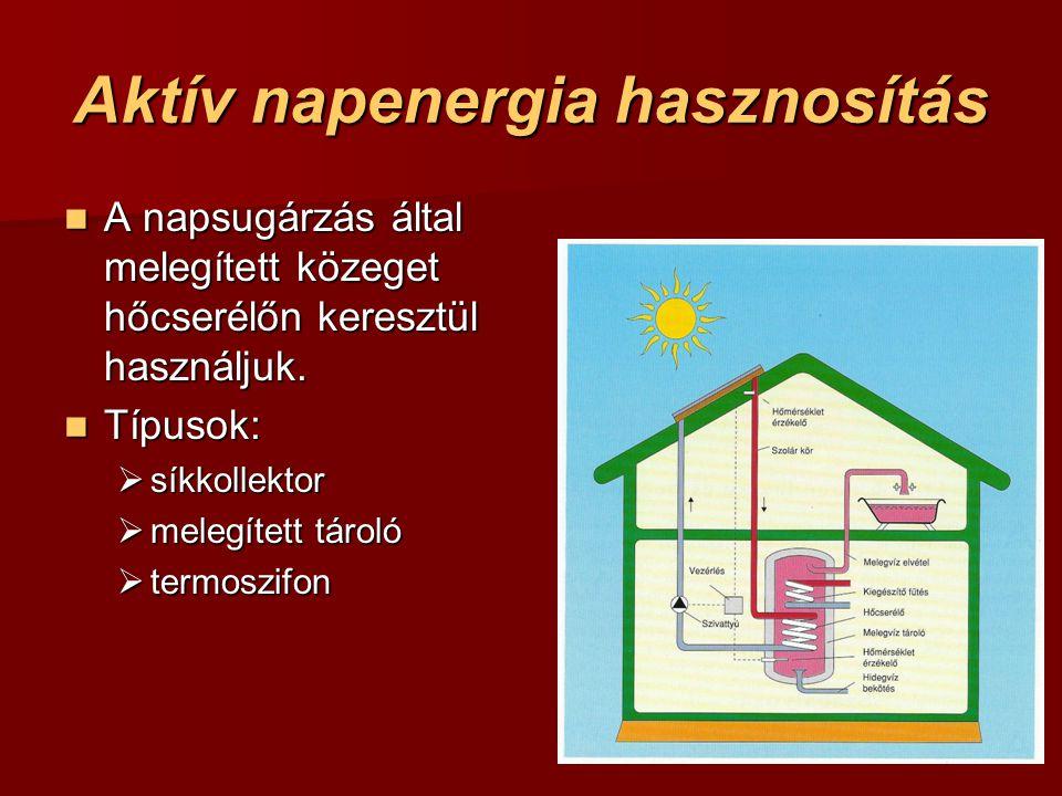Aktív napenergia hasznosítás A napsugárzás által melegített közeget hőcserélőn keresztül használjuk.