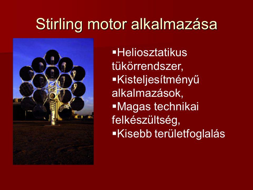 Stirling motor alkalmazása  Heliosztatikus tükörrendszer,  Kisteljesítményű alkalmazások,  Magas technikai felkészültség,  Kisebb területfoglalás