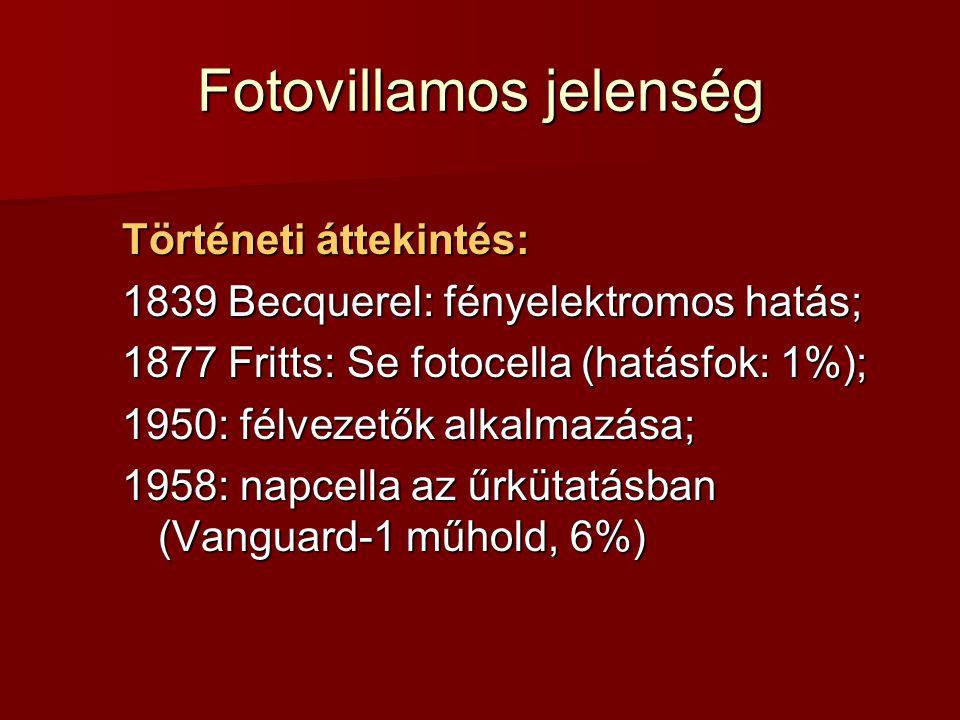 Fotovillamos jelenség Történeti áttekintés: 1839 Becquerel: fényelektromos hatás; 1877 Fritts: Se fotocella (hatásfok: 1%); 1950: félvezetők alkalmazása; 1958: napcella az űrkütatásban (Vanguard-1 műhold, 6%)