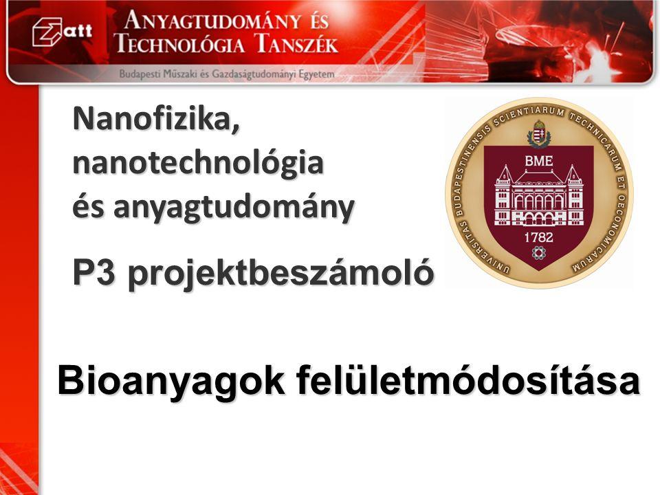 Nanofizika, nanotechnológia és anyagtudomány P3 projektbeszámoló Bioanyagok felületmódosítása
