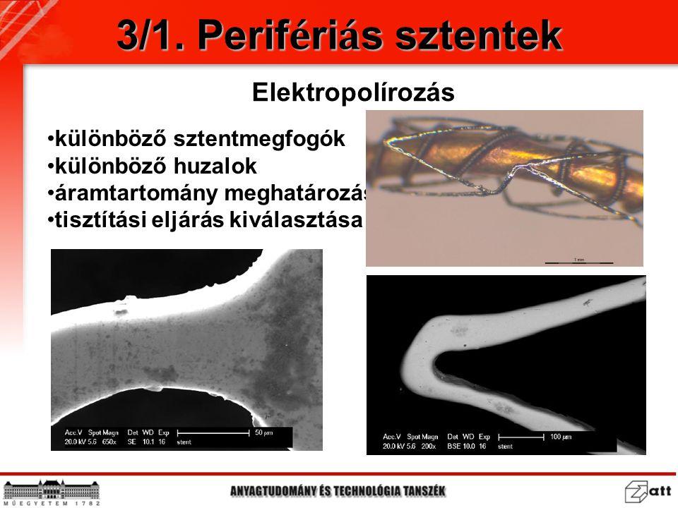 3/1. Perif é ri á s sztentek Elektropolírozás különböző sztentmegfogók különböző huzalok áramtartomány meghatározása tisztítási eljárás kiválasztása