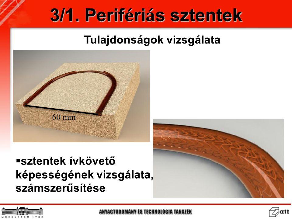 3/1. Perif é ri á s sztentek Tulajdonságok vizsgálata  sztentek ívkövető képességének vizsgálata, számszerűsítése