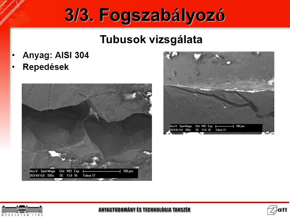 Anyag: AISI 304 Repedések Tubusok vizsgálata 3/3. Fogszab á lyoz ó