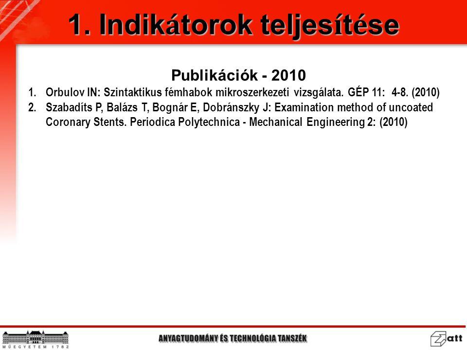 Publikációk - 2010 1.Orbulov IN: Szintaktikus fémhabok mikroszerkezeti vizsgálata. GÉP 11: 4-8. (2010) 2.Szabadíts P, Balázs T, Bognár E, Dobránszky J